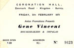 5 February ticket courtesy of John Braley