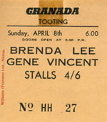 April 1962 ticket stub